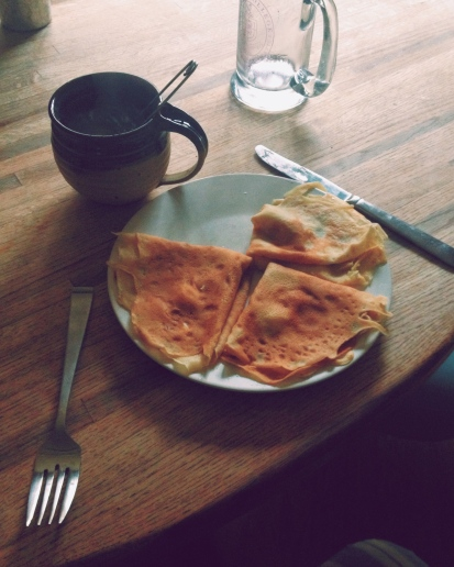 Food experiments at the  house...breakfast crepes, breakfast tea.